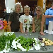 Kathy Bergin, Caroline Perkins, and Katie Hancock participating in a Food Preservation class.  We made herbed vinegar and vegetable soup!